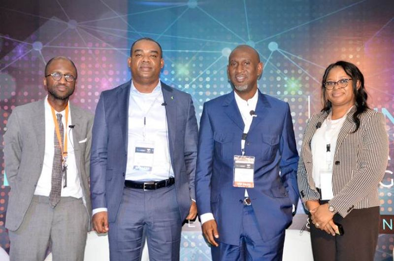 L-R: Co-founder and Partner, Verod Capital Management Limited, Eric Idiahi; Chief Operations and Information Officer, Fidelity Bank Plc, Gbolahan Joshua; Managing Partner, Synergy Capital Managers, Dr. Akintoye Akindele, Managing Partner, Sefton Fross, Olayemi Anyanechi at the TechMoney Africa 2019 Conference which took place at the University of Lagos, Akoka . . . Monday, June 10, 2019.