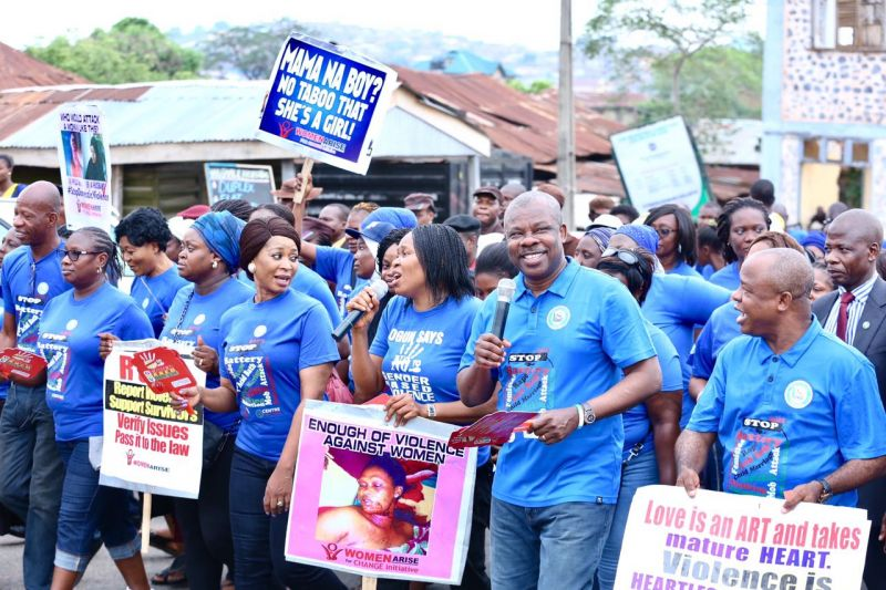 L-R front row; Wife of the Ogun State Governor, Dr. (Mrs.) Olufunso Amosun, Convener, Anti-Gender Based Violence Walk , Dr. Joe Okei-Odumakin, Ogun State Governor, Senator Ibikunle Amosun, Iyalode of Yoruba land, Chief (Mrs.) Alaba Lawson and the Secretary to the Ogun State Government (SSG), Barr. Taiwo Adeoluwa, during an Anti-Gender Based Violence Walk held in Abeokuta on Wednesday, March 22, 2017.