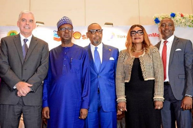 L-R: Managing Director, Exxon Mobil Nigeria, Paul McGrath; Chief Financial Officer, Nigeria National Petroleum Corporation, Umar Isa Ayiya; Group Managing Director, Aiteo Eastern E & P Company Ltd, Victor Okoronkwo; General Manager, Delivery Integration, Shell Nigeria Exploration and Production Company, Ibiyemi Asaolu; and Chairman, Association of Energy Correspondents of Nigeria, Olatunde Dodondawa, at the opening session of the 2019 annual conference of the association in Lagos… on Thursday, Aug. 22, 2019.