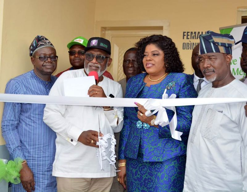 L-R: Senator, Ondo Senatorial District, Tayo Alasoadura; Executive Governor, Ondo State, Rotimi Akeredolu (SAN); Executive Director, Lagos & South-West, Fidelity Bank Plc, Mrs. Nneka Onyeali-Ikpe; and Secretary to the Ondo State Government (SSG), Honourable Ifedayo Abegunde, at the commissioning of sanitary facilities constructed by Fidelity Bank at Arakale Motor Park in Akure, Ondo State on Wednesday, February 21, 2018.