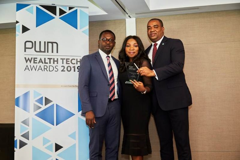 Divisional Head, Fidelity Private Banking, Chioma Nwankwo; Head, Investor Relations, Sam Obioha, and Chief Operations & Information Officer, Gbolahan Joshua, at the PWM Wealth Tech Award in London where Fidelity Bank emerged the 'Best Digital Networking Bank For Entrepreneurs, Africa 2019' recently.
