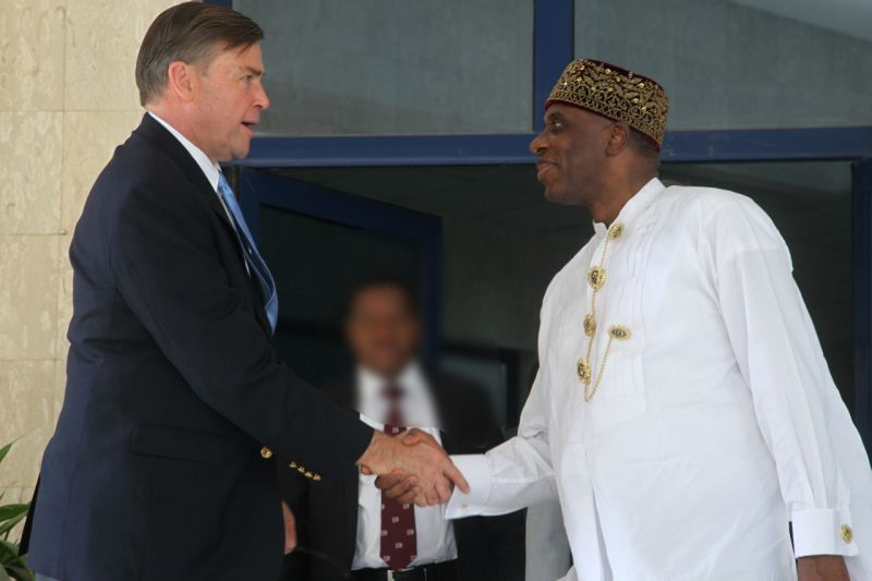R-L... Honourable Minister of Transportation, Rt. Hon. Rotimi Chibuike Amaechi, in a handshake with the United State Ambassador to Nigeria. His Excellency. W. Stuart Symbington, during his courtesy visit to the  Minister at  Federal Minister of Transportation Abuja.