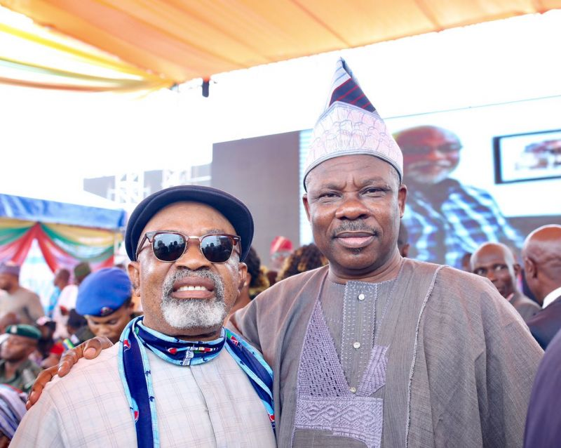 Minister of Labour and Productivity, Dr. Chris Ngige (left) and the Ogun State Governor, Senator Ibikunle Amosun at the inauguration of Mr. Rotimi Akeredolu as the governor of Ondo State, in Akure, on Feb. 24, 2017.