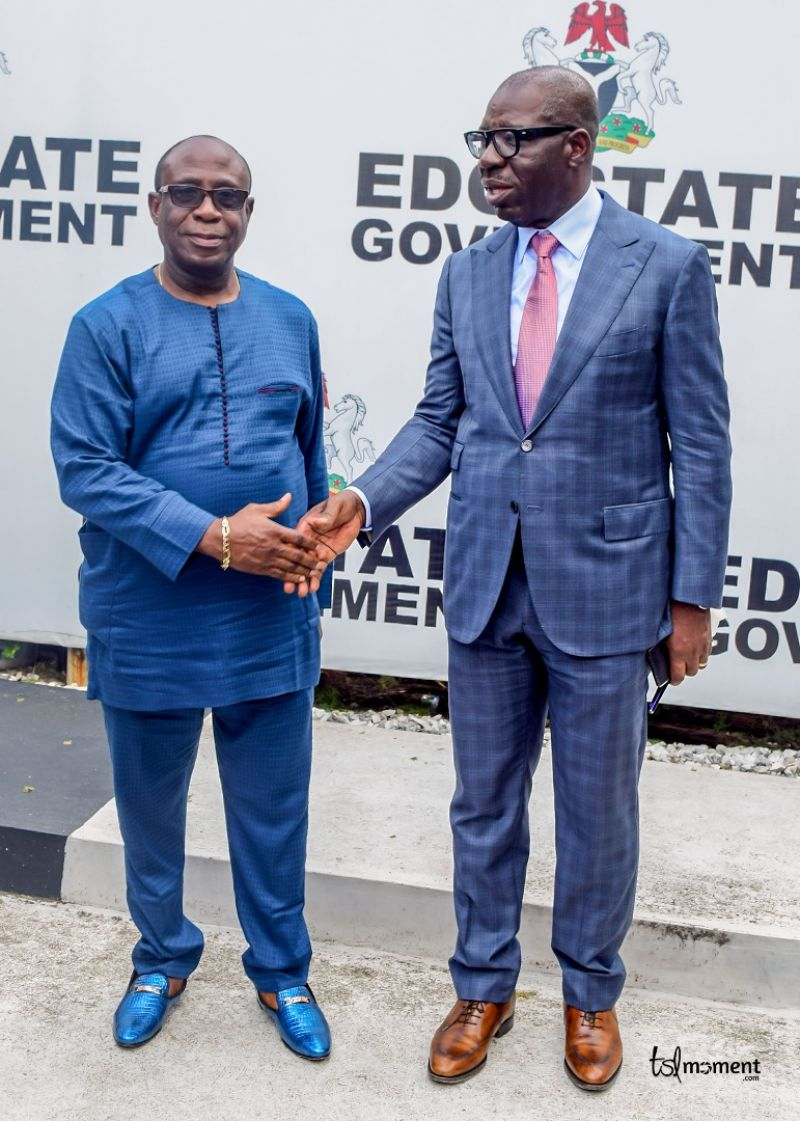 Mr. Joe Ikpea In A Hand Shake With Governor Godwin Obaseki Shortly After His Inauguration As Commissioner, On Wednesday, In Benin City