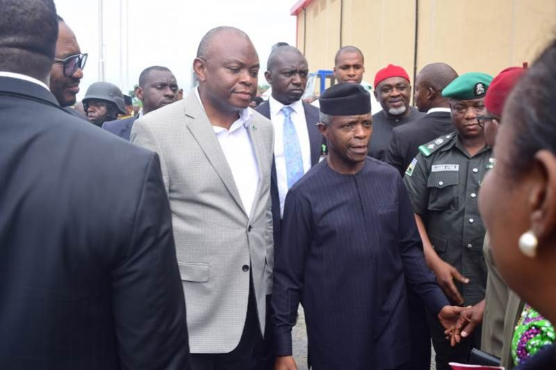 L-R: The Managing Director/Chief Executive Officer, Fidelity Bank Plc, Mr. Nnamdi Okonkwo; Vice President of the Federal Republic of Nigeria, Prof. Yemi Osinbajo at the formal commissioning of the Techno Oil LPG Cylinder Manufacturing Plant in Lagos on Friday, June 7, 2019.