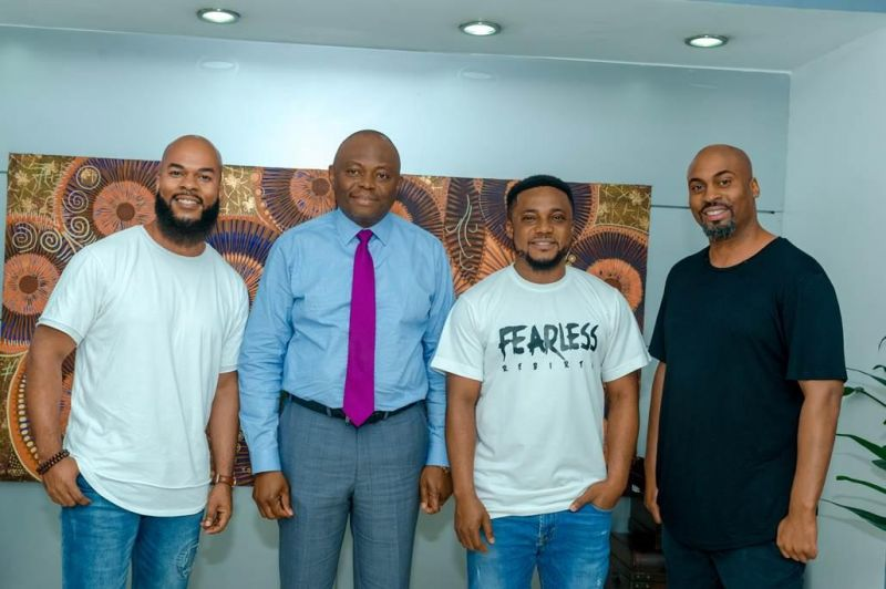 Multiple Award Winning American Gospel Artistes, J.J Hairston (left); and Phil Thompson (right) at a meeting with Fidelity Bank CEO, Nnamdi Okonkwo (2nd left) in Lagos on Monday, June 17, 2019, after the Fearless Rebirth Concert organised by Tim Godfrey (3rd right) and sponsored by Fidelity Bank Plc.