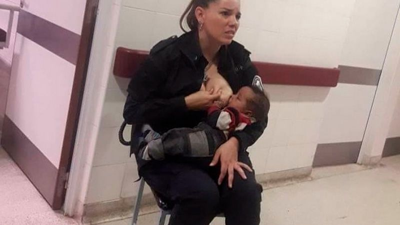 Police officer who breastfed crying baby in a hospital sets internet ablaze