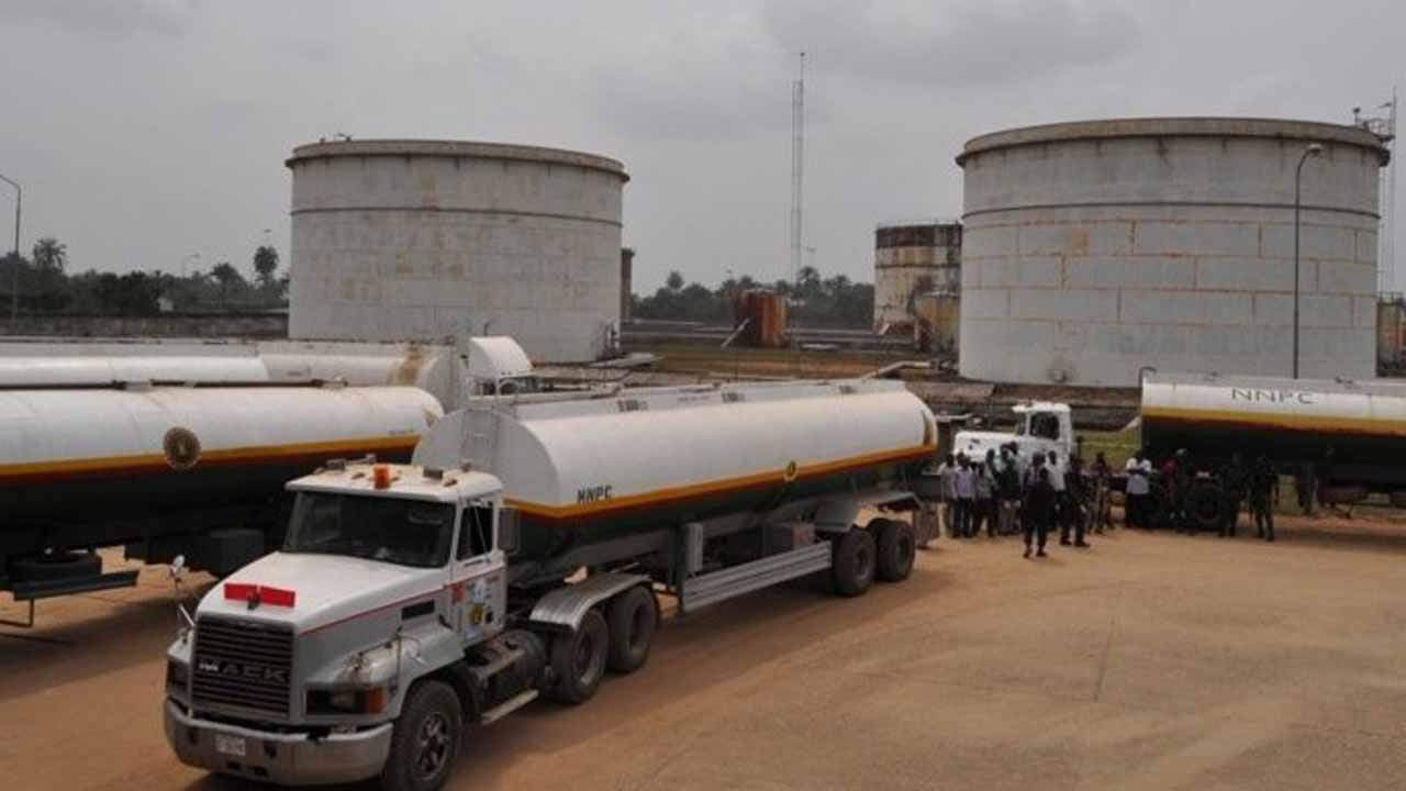 •Petrol tankers waiting to load at NNPC depot