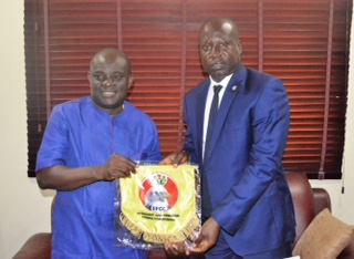 •Oyo State REC Mutiu Adegoke (L) and EFCC Ibadan Zonal Head Friday Ebelo