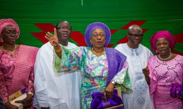 •Governor Fayemi and wife, Erelu Bisi Fayemi, at the birthday thanksgiving service