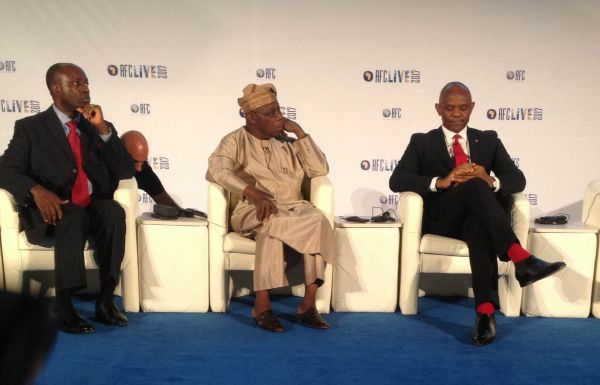 •L-R: Soludo, Obasanjo and Elumelu at AFC's 10th anniversary event, Tuesday n Abuja.