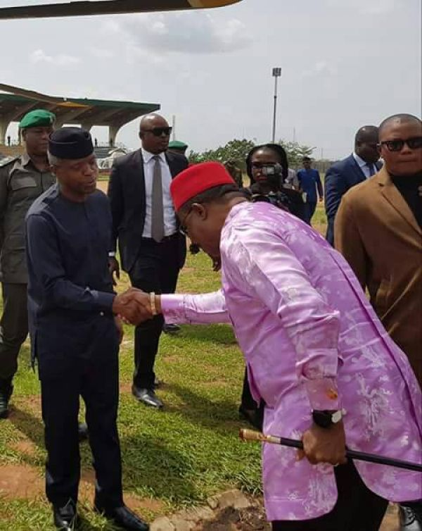 •Governor Obiano welcoming Vice President Osinbajo to the event . . . Thursday in Onitsha