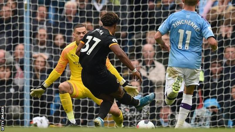 •Traore netting one of his two goals . . . on Sunday at the Etihad