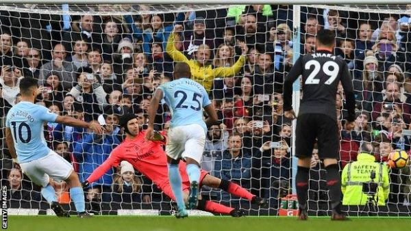 •Man City's goal machine Aguero doing what he knows best
