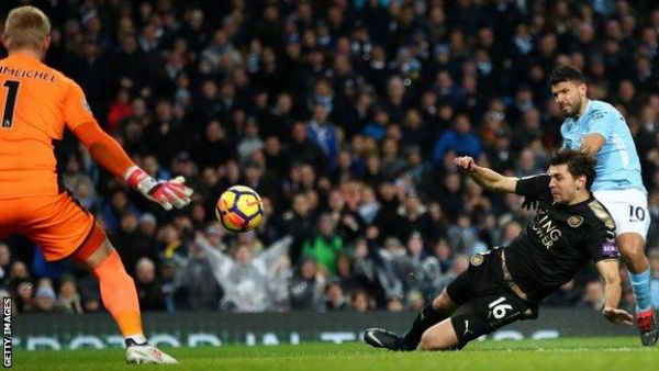 •Aguero scoring one of his four goals against Leicester on Saturday