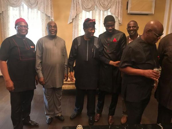•Ex-VP Atiku Abubakar (second left) flanked by Dr. Okwesilieze Nwodo and on the right by Otunba Gb