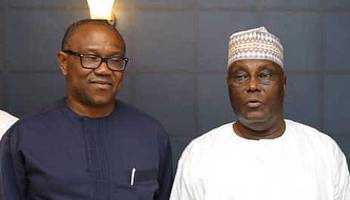 •PDP Presidential candidate Atiku and his running mate, ex-governor Obi