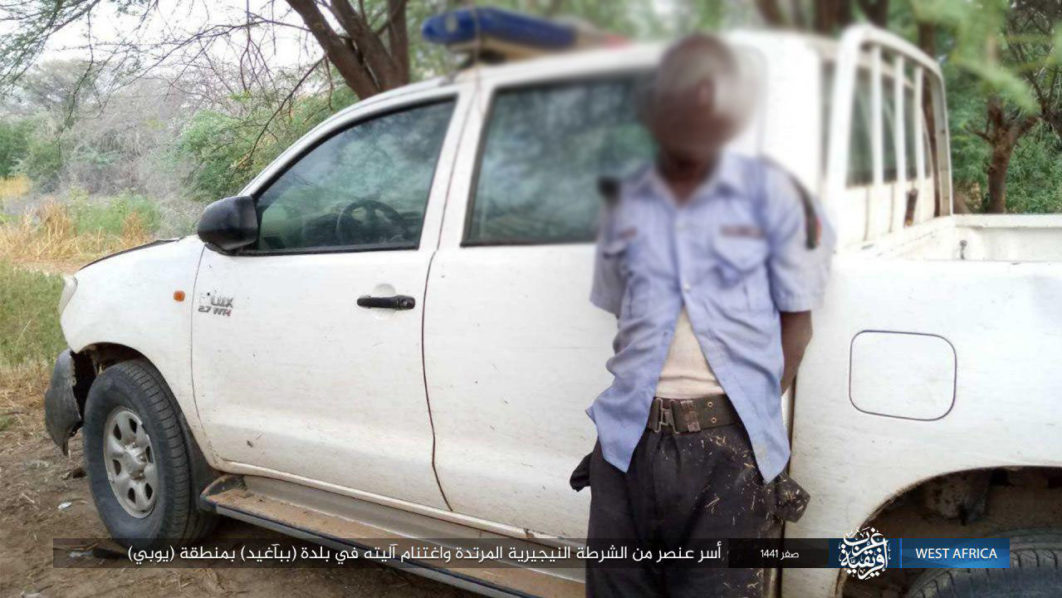 •Unnamed police man kidnapped in Yobe State by the Islamic State backed Boko Haram