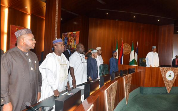 •Buhari and state governors during a previous meeting