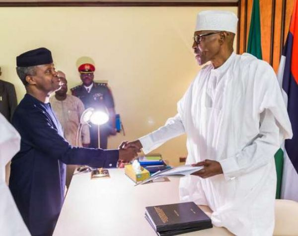 •President Buhari receiving the report of the Osinbajo Committee on Babachir Lawal and DG NIA Ayo