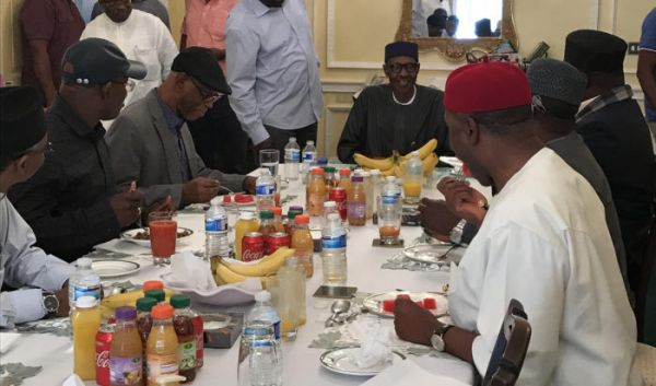 Buhari, APC leaders eat lunch in London •He is closely monitoring developments at home: Okorocha
