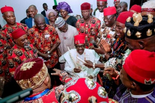 •President Buhari being honoured in Ebonyi on Tuesday