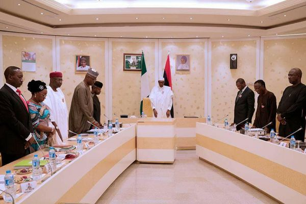 •President Buhari presiding over a meeting in the office of his wife, Aisha, in Aso Rock