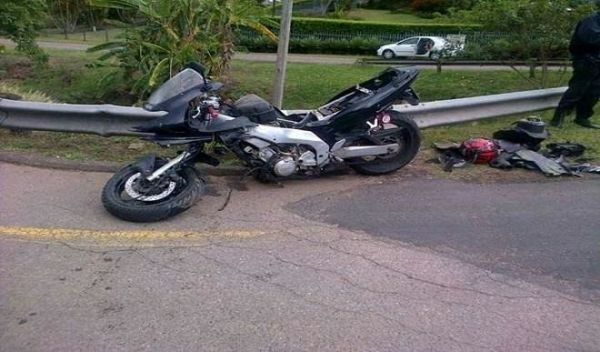 •The wrecked power bike with which Yusuf Buhari had the accident