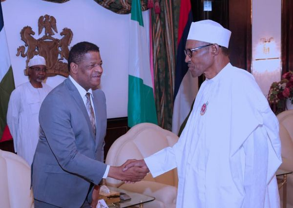 •President Buhari receiving ECOWAS Commission President, HE Marcel A. de Souza, on Friday