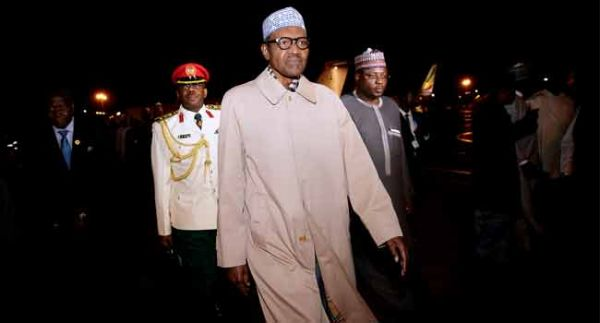•President Buhari shortly after his arrival in Addis Ababa on Friday night for the 30th AU Summit