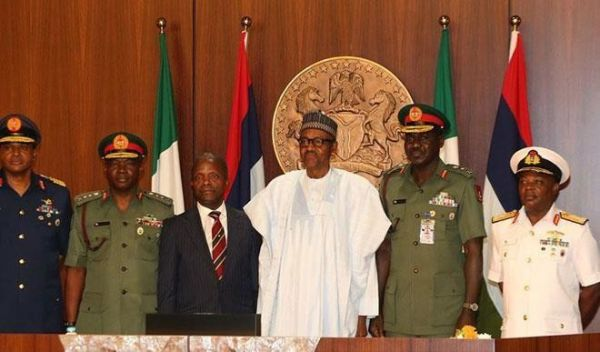 •President Buhari with Acting President Osinbajo and Service Chiefs, today in Presidential villa,
