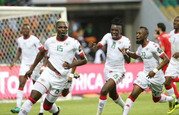 •Burkina Faso players jubilate after ousting Tunisia from the 2017 AFCON on Saturday in Gabon.