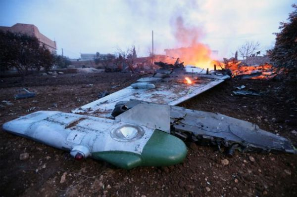 •Burning Russian fighter plane