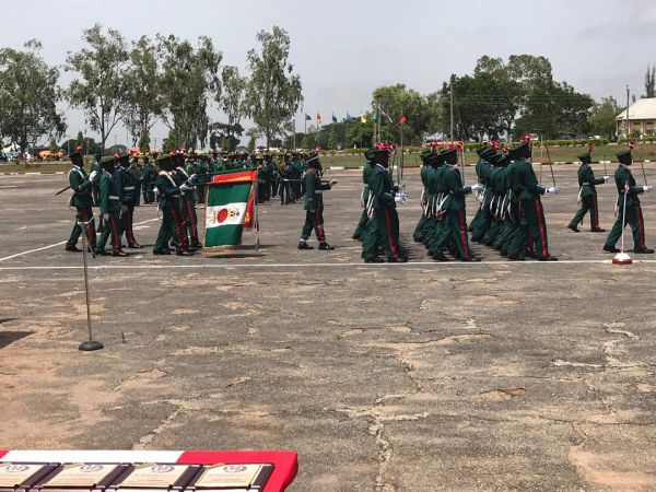 Officer Cadets marching past during the passing out parade . . . Saturday in Jaji, Kaduna.