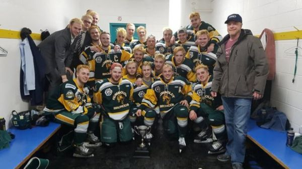 •Members of the hockey team in a recent photograph