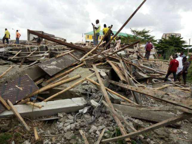 •The collapsed building in Jabi, Abuja