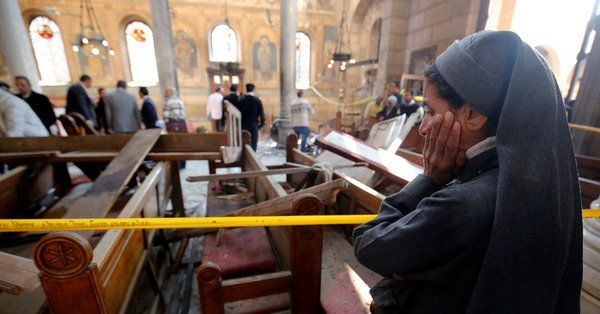•Scene of the first bomb attack at a Coptic Church in Tanta