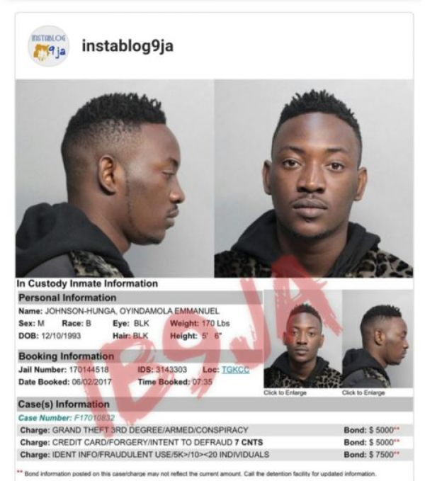 US Police slam 9-count charge on Nigerian musician nabbed for fraud