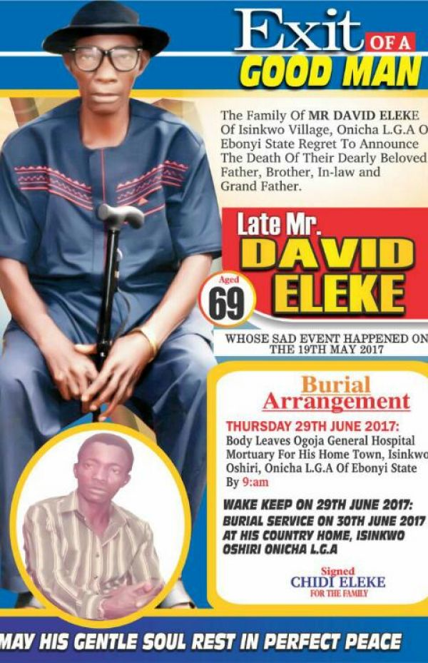 Brutally murdered Pa David Eleke (Snr) stands remembered everyday, By David-Chyddy Eleke