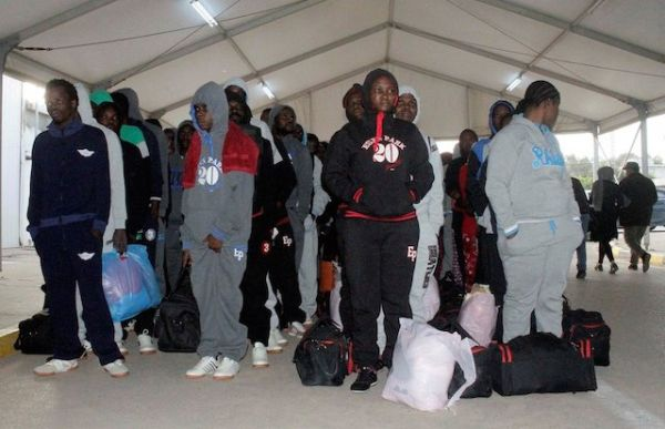 Some of the deportees upon their arrival at MMlA Lagos.