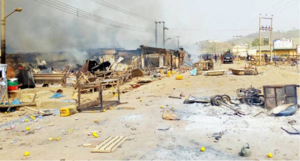 •Aftermath of the militia attack. Photo: Daily Trust.