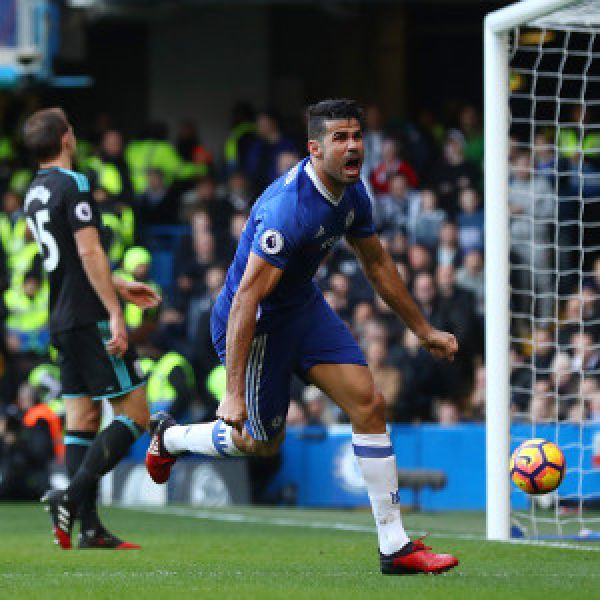 •Chelsea star talisman Diego Costa celebrating a goal.