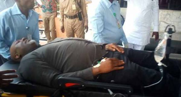 •Senator Dino Melaye on a stretcher during one of his court appearances
