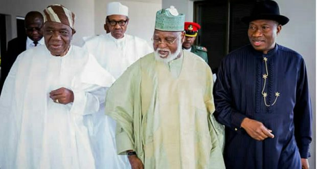 •L-R: Ex-Heads of State Shonekan, Abdulsalami and Jonathan