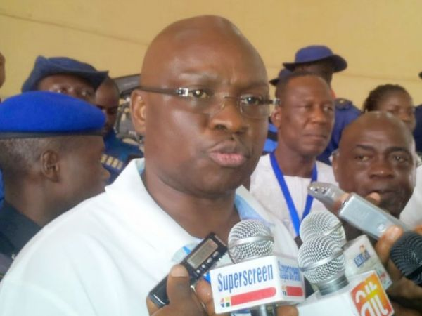 •Governor Fayose fielding questions from newsmen