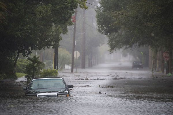 •Flooded Houston USA street. Photo: Getty Images.