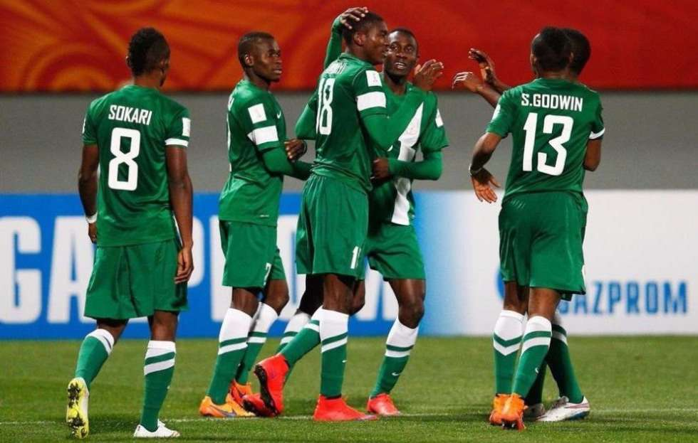 •Flying Eagles players celebrating a goal