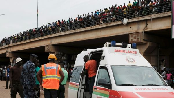 •An ambulance parked at the site of the explosion [Francis Kokoroko/Reuters]