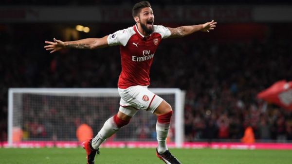 •Arsenal hero Olivier Giroud celebrating his winner last night at The Emirates.