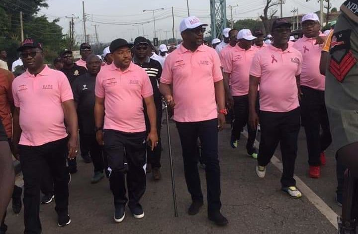 •Governor Sani-Bello (middle) during the breast cancer awareness campaign